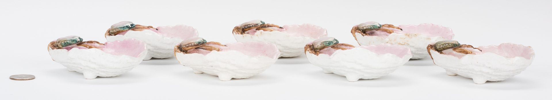 Lot 333: 7 Palissy Ware Crab Dishes