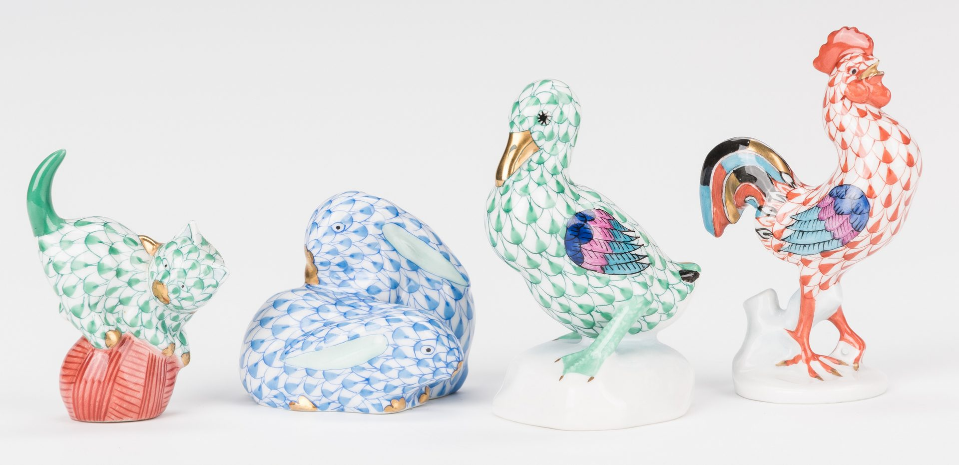 Lot 334: Group Herend Porcelain Animals, 9 pcs.