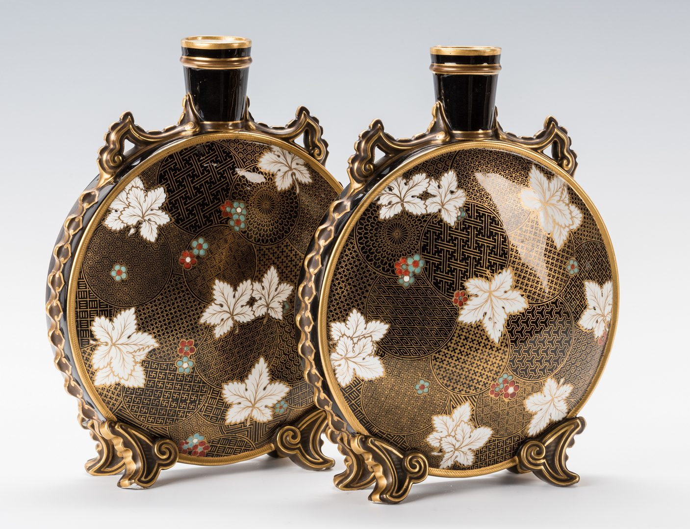Lot 335: Pr. Worcester Aesthetic Movement Vases