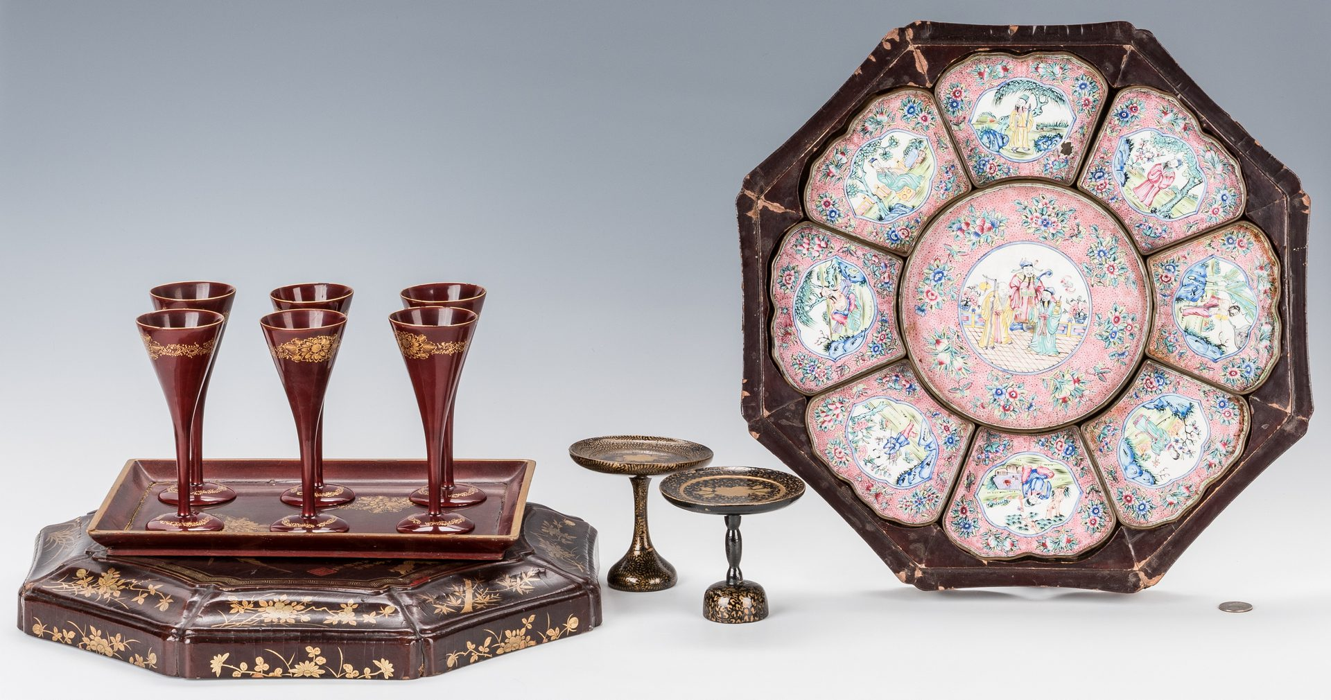 Lot 339: Chinese Enamel Sweetmeat Set plus Lacquer Items, 19 total pcs.