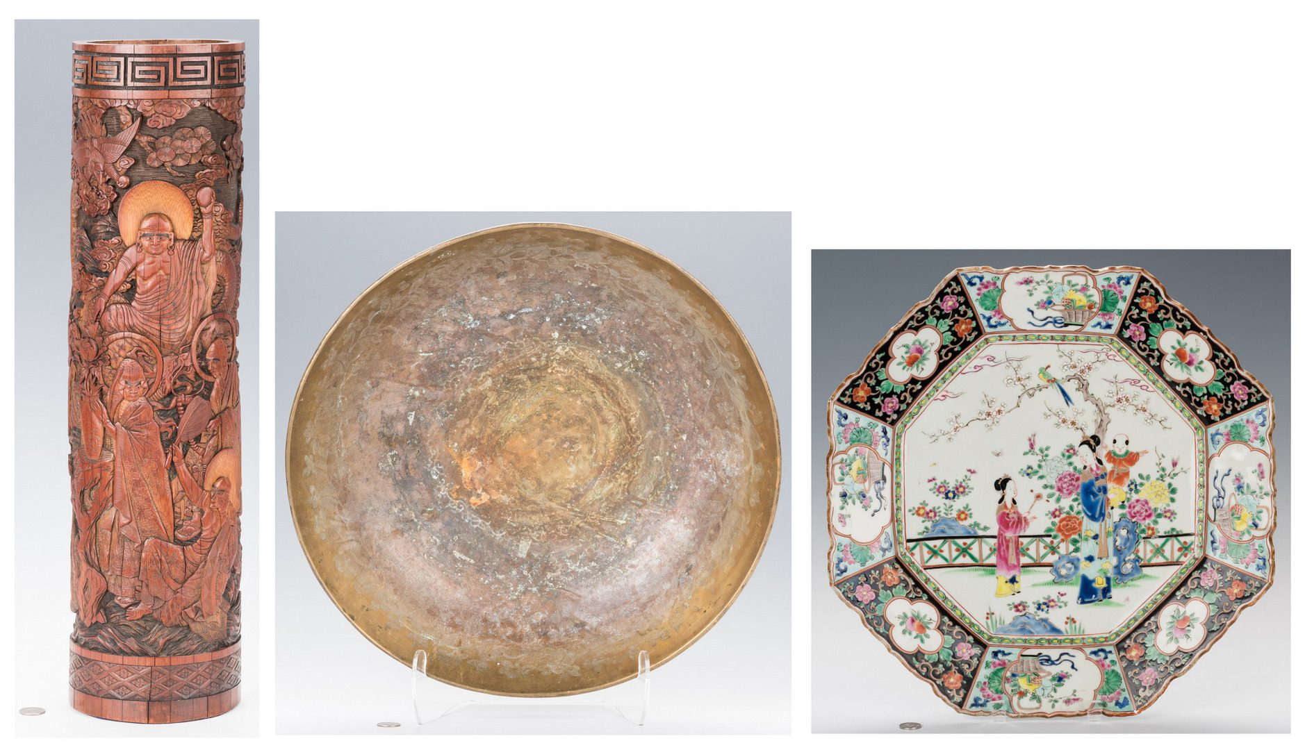 Lot 344: 3 Asian Decorative Items: Large Brush Pot, Gong & Charger