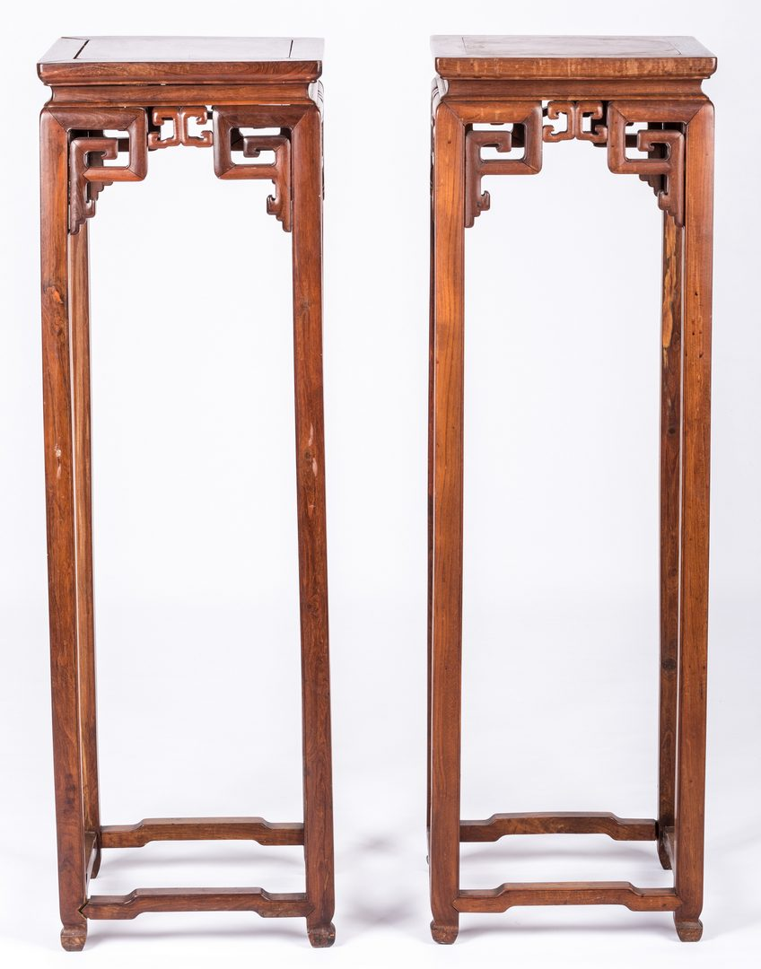 Lot 345: 3 Chinese Pedestal Stands and 1 Low Table