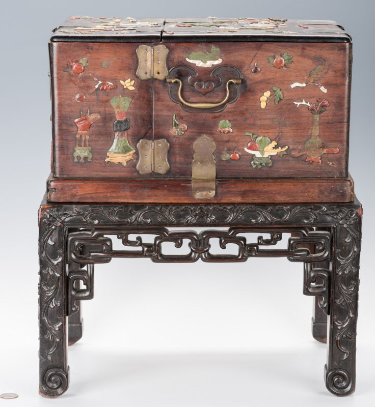 Lot 346: Chinese Travel Dressing Box and Table, 2 pcs.