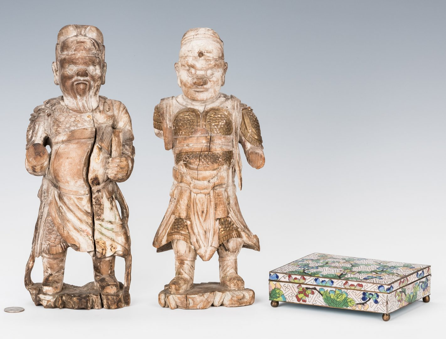 Lot 348: Chinese Cloisonne Box & 2 Carved Warrior Figures