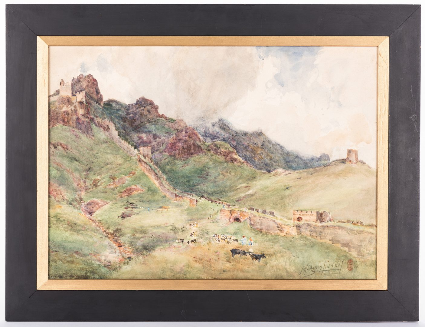 Lot 34: Thomas H. Liddell Asian Landscape Watercolor