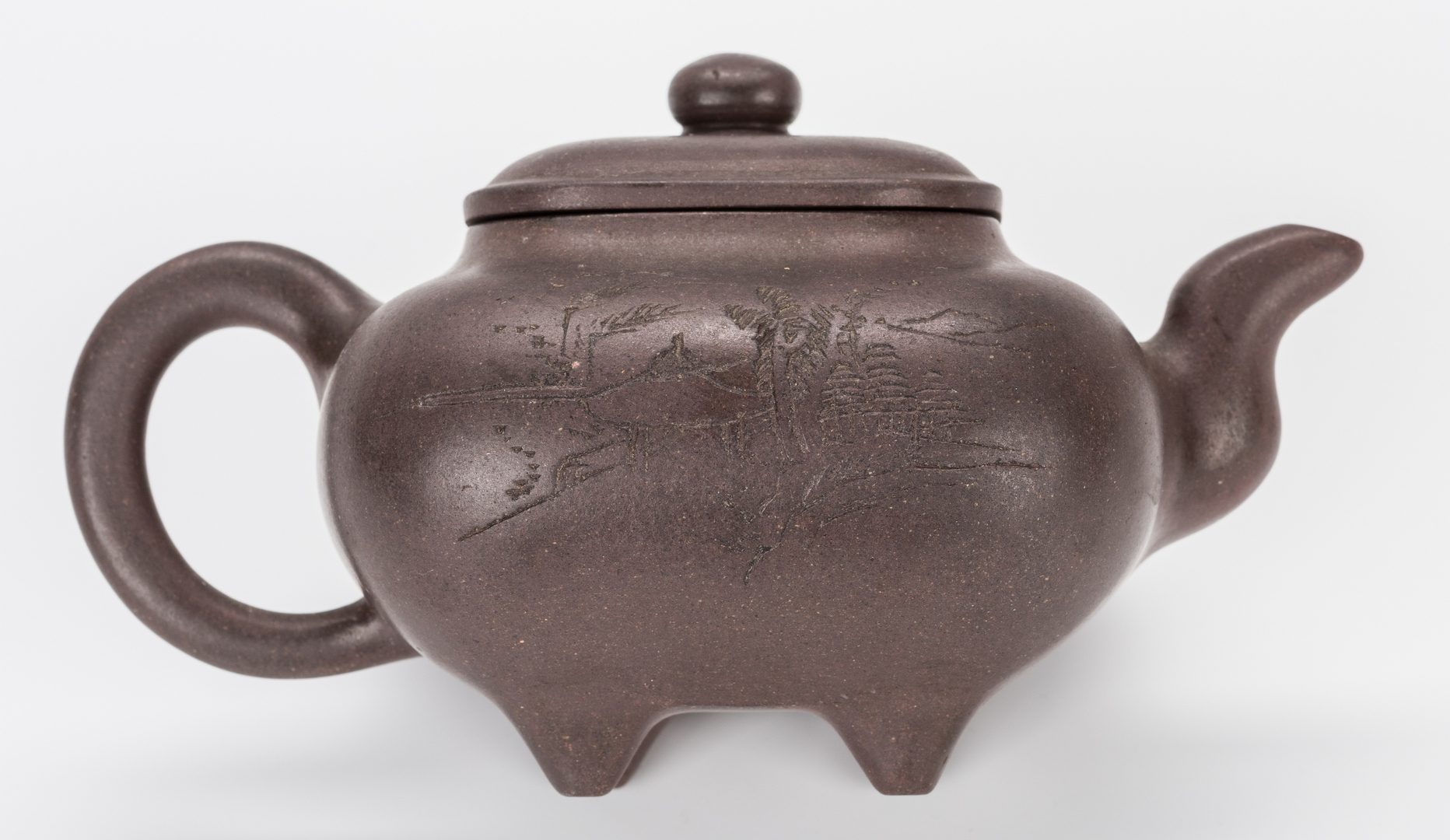 Lot 351: 4 Chinese Yixing Teapots w/ Inscriptions