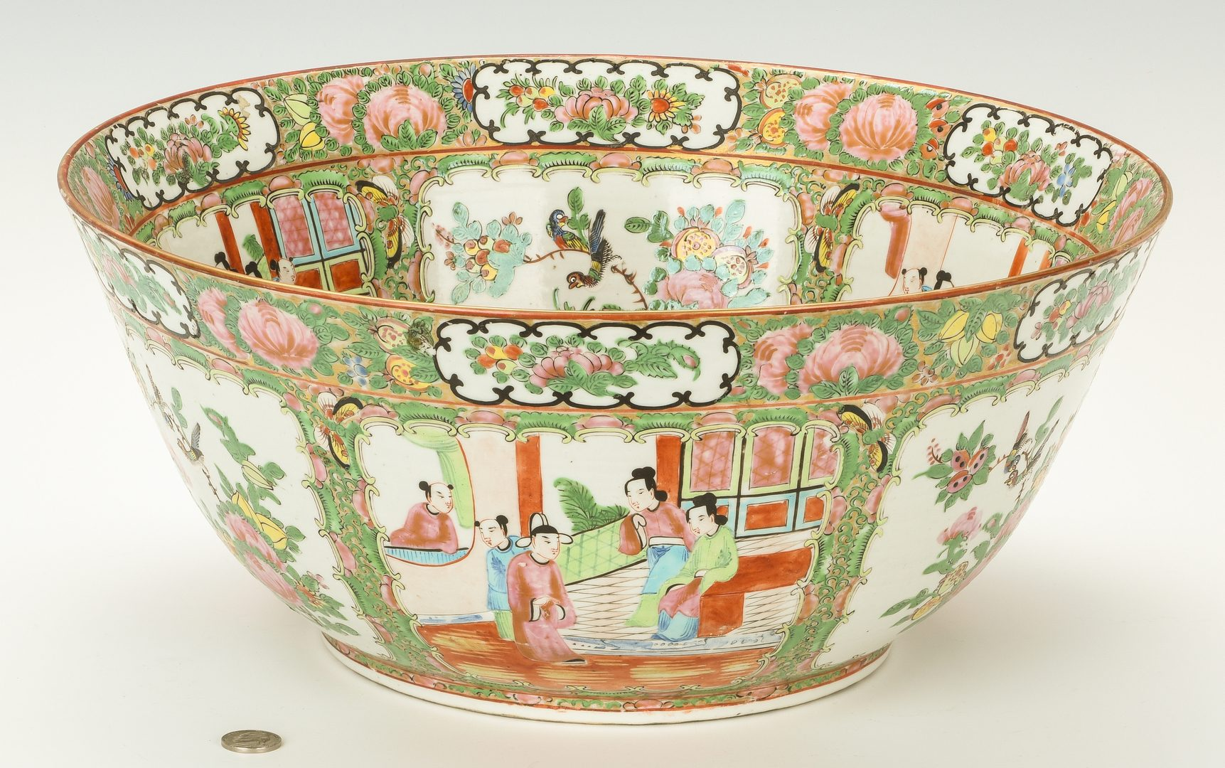Lot 353: Chinese Export Rose Medallion Punch Bowl