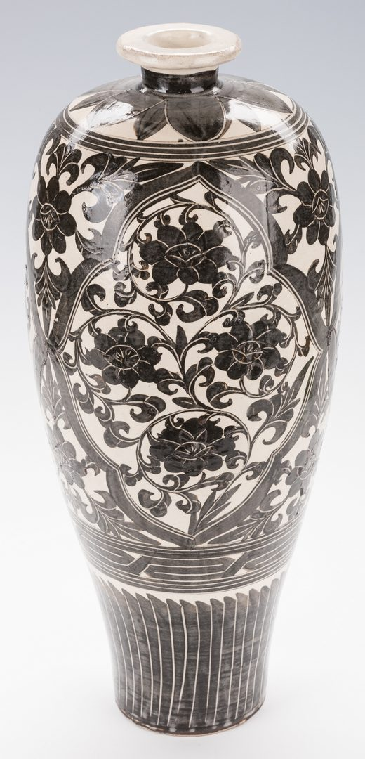 Lot 357: Chinese Black & White Vase, Mei Ping Form