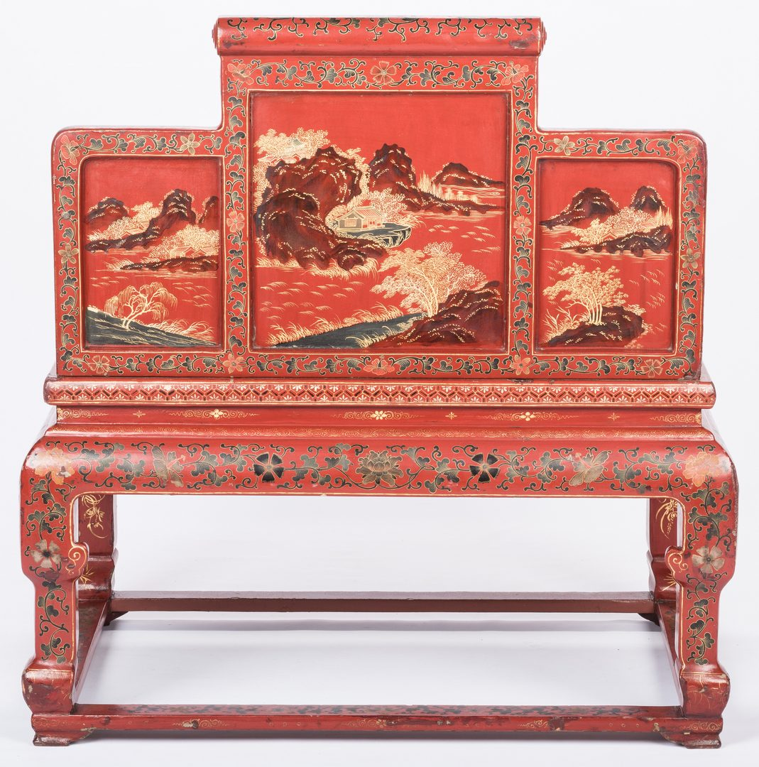 Lot 35: Chinese Red Lacquer Throne Chair
