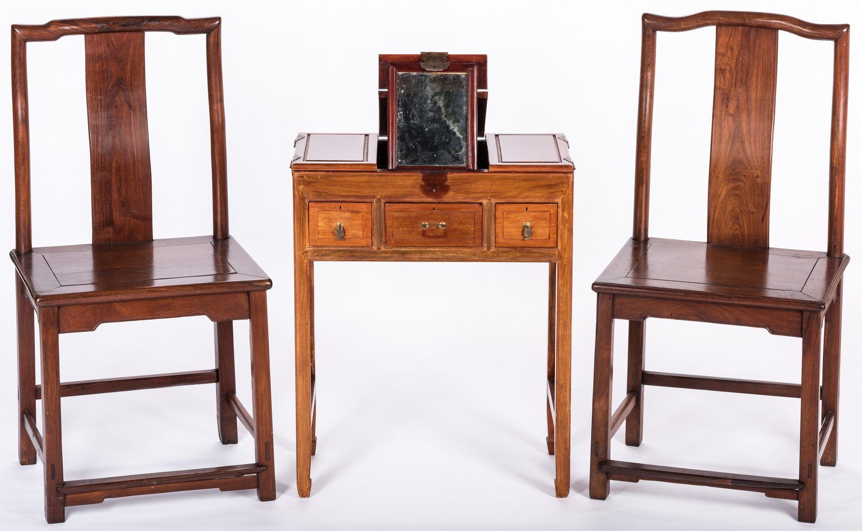 Lot 364: Chinese Dressing Table & 2 Chinese Side Chairs, 3 items