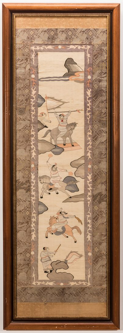 Lot 366: Chinese Embroidered Kesi Embroidered Panels w/ Warriors