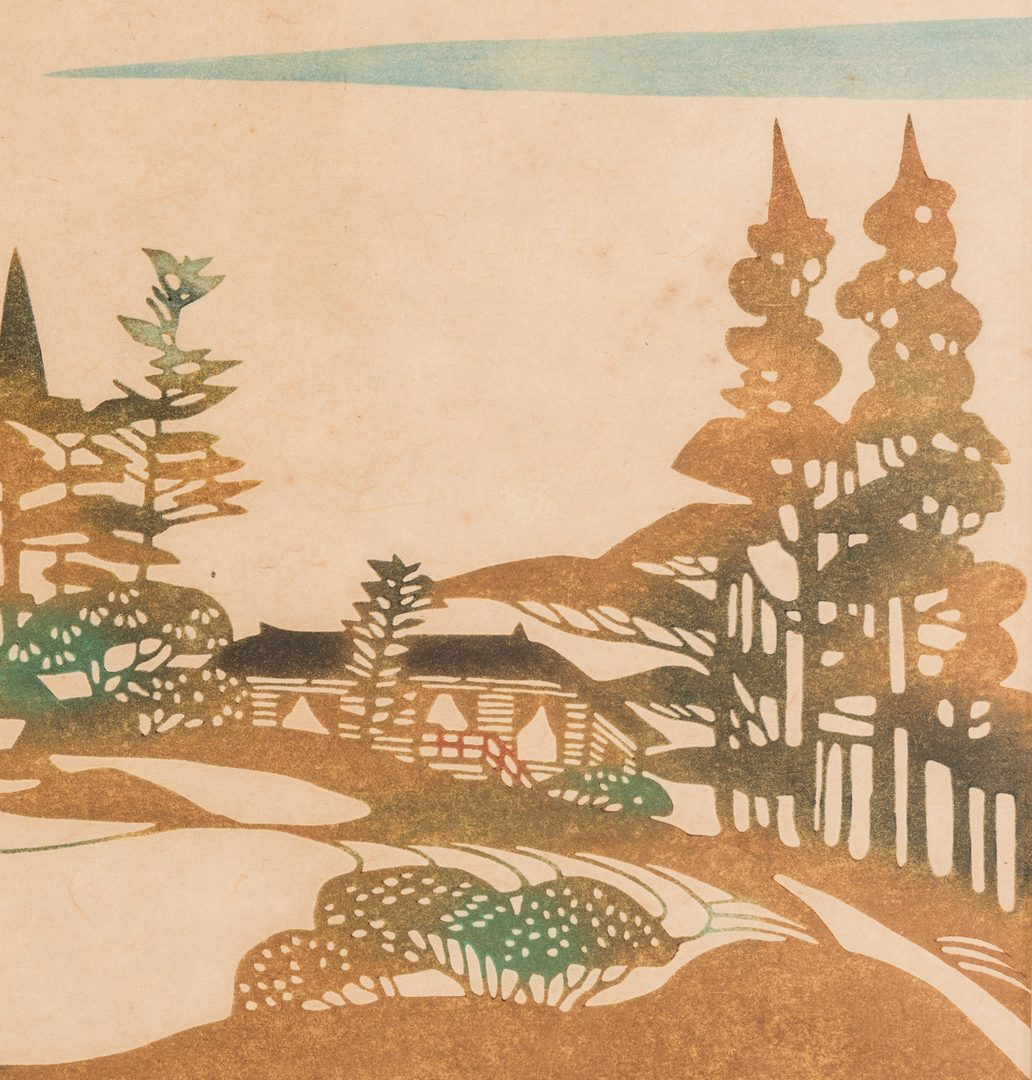 Lot 369: 2 Japanese Woodblock landscapes, inc. Saito