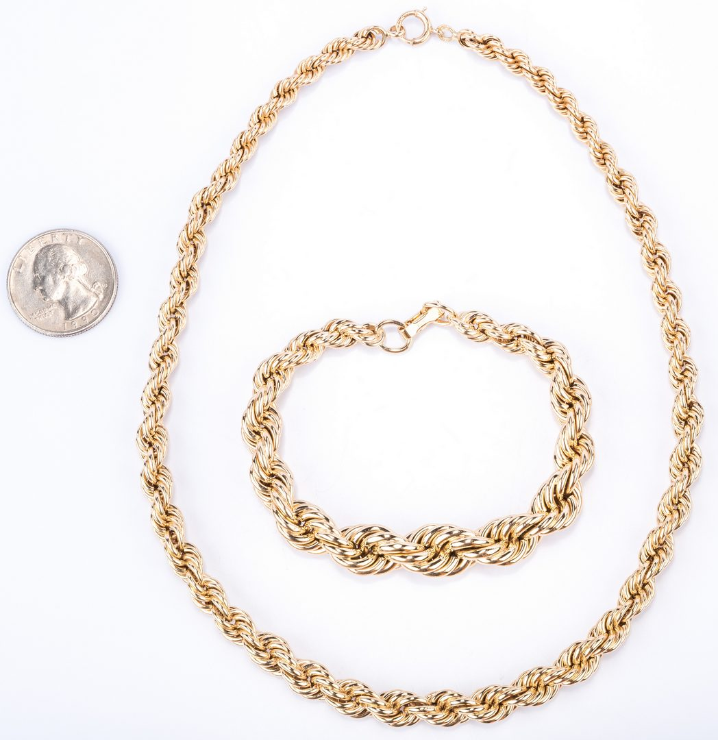Lot 374: 14K Rope Chain and Bracelet. 38.6 grams, 2 items