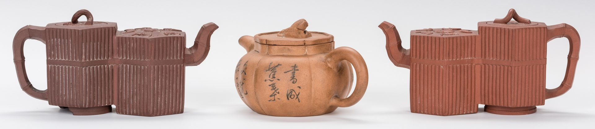 Lot 37: 3 Chinese Yixing Teapots, inc. 2 Double Forms