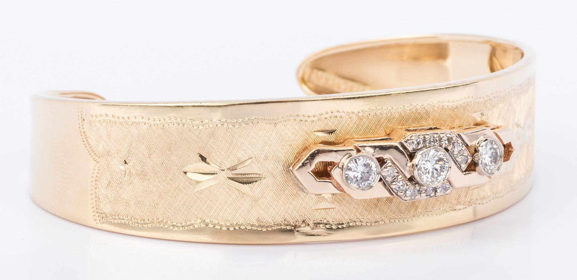 Lot 380: 18K Italian Diamond Cuff Bracelet