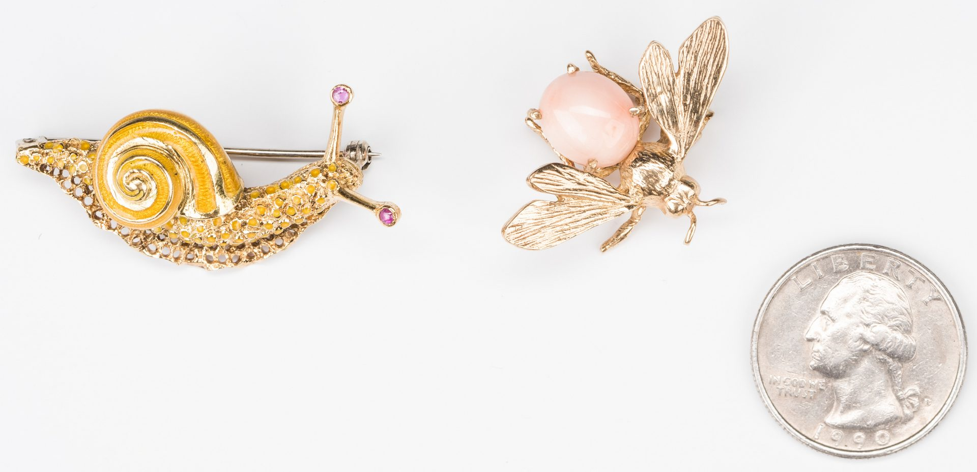 Lot 384: Gold Snail and Bee Pins