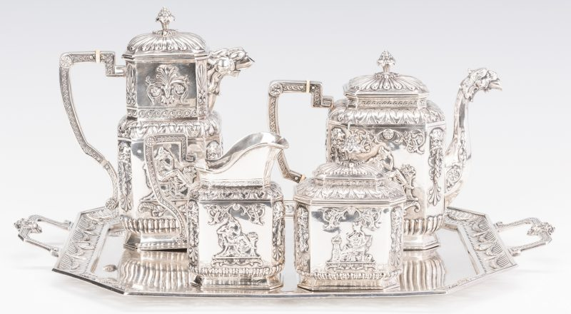 Lot 387: Hanau .800 Silver Tea Service with tray
