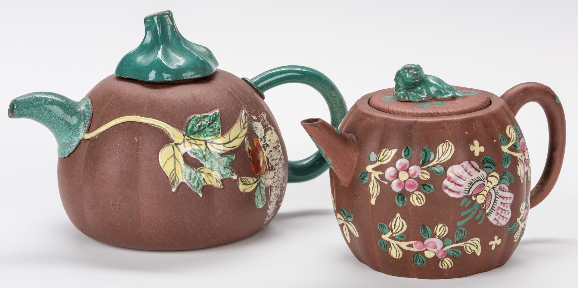 Lot 38: 5 Chinese Yixing Teapots w/ Enameled Decoration