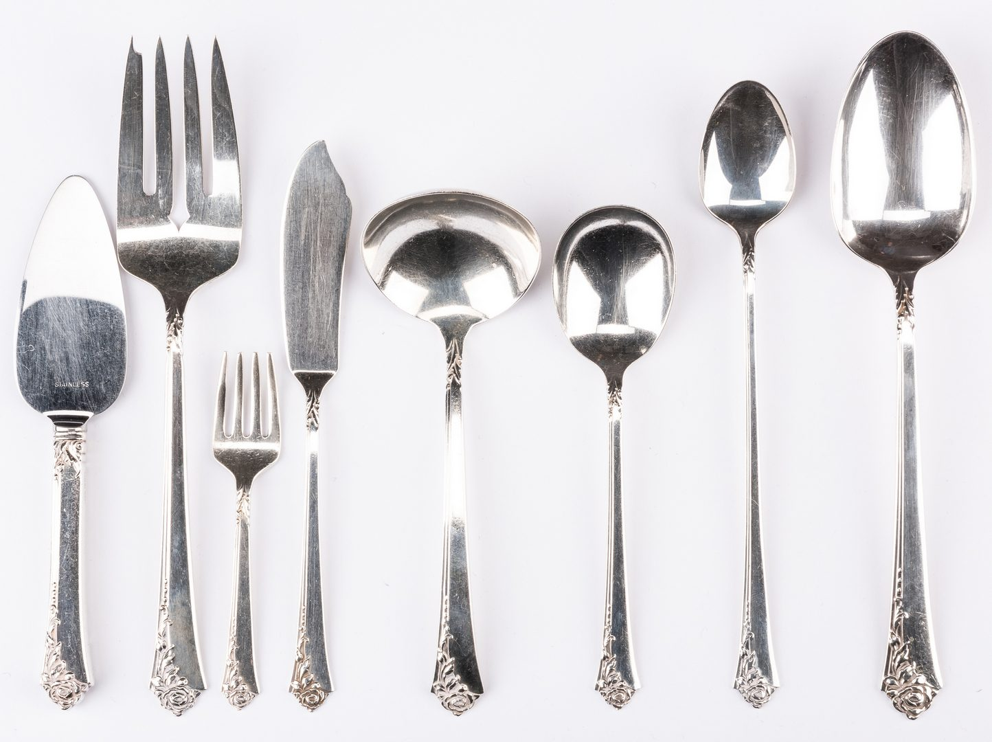 Lot 391: Heirloom Damask Rose Sterling Flatware plus others
