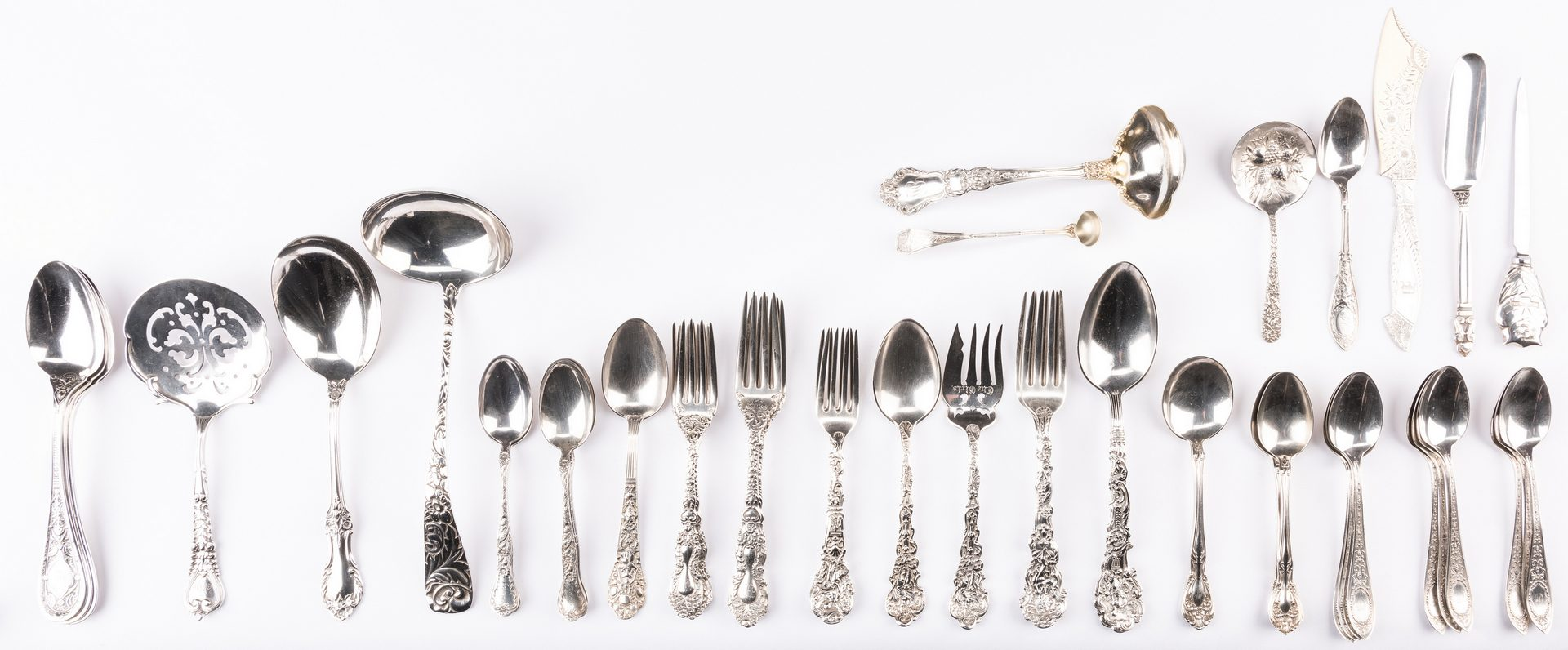 Lot 392: 52 pcs sterling flatware, inc. Tiffany, Jensen, Gorham Versailles and more