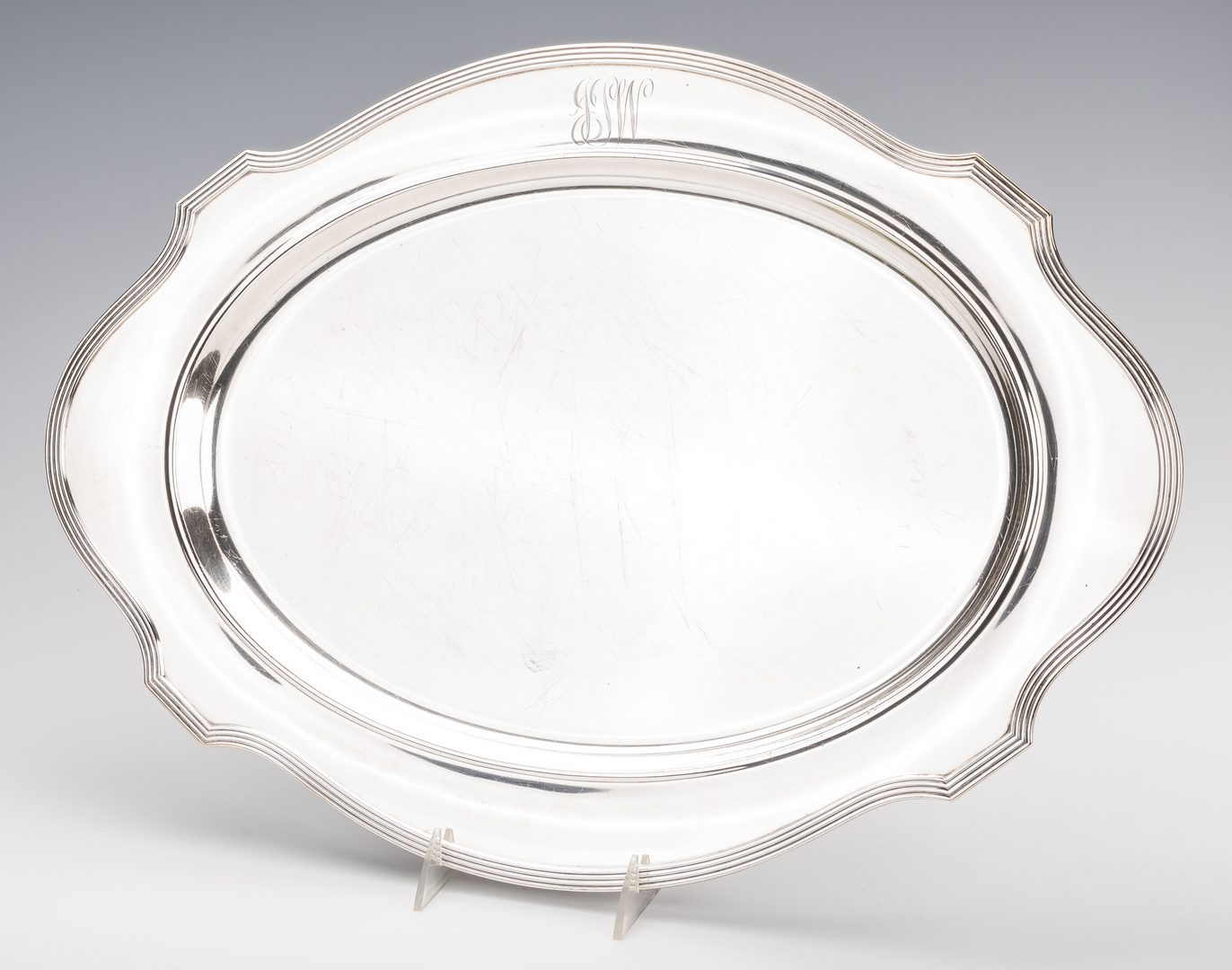 """Lot 393: Gorham Sterling Tray, 20"""" cartouche shape"""