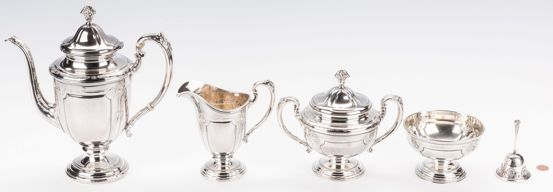 Lot 396: Towle sterling tea set, Royal Windsor, with bell and tray