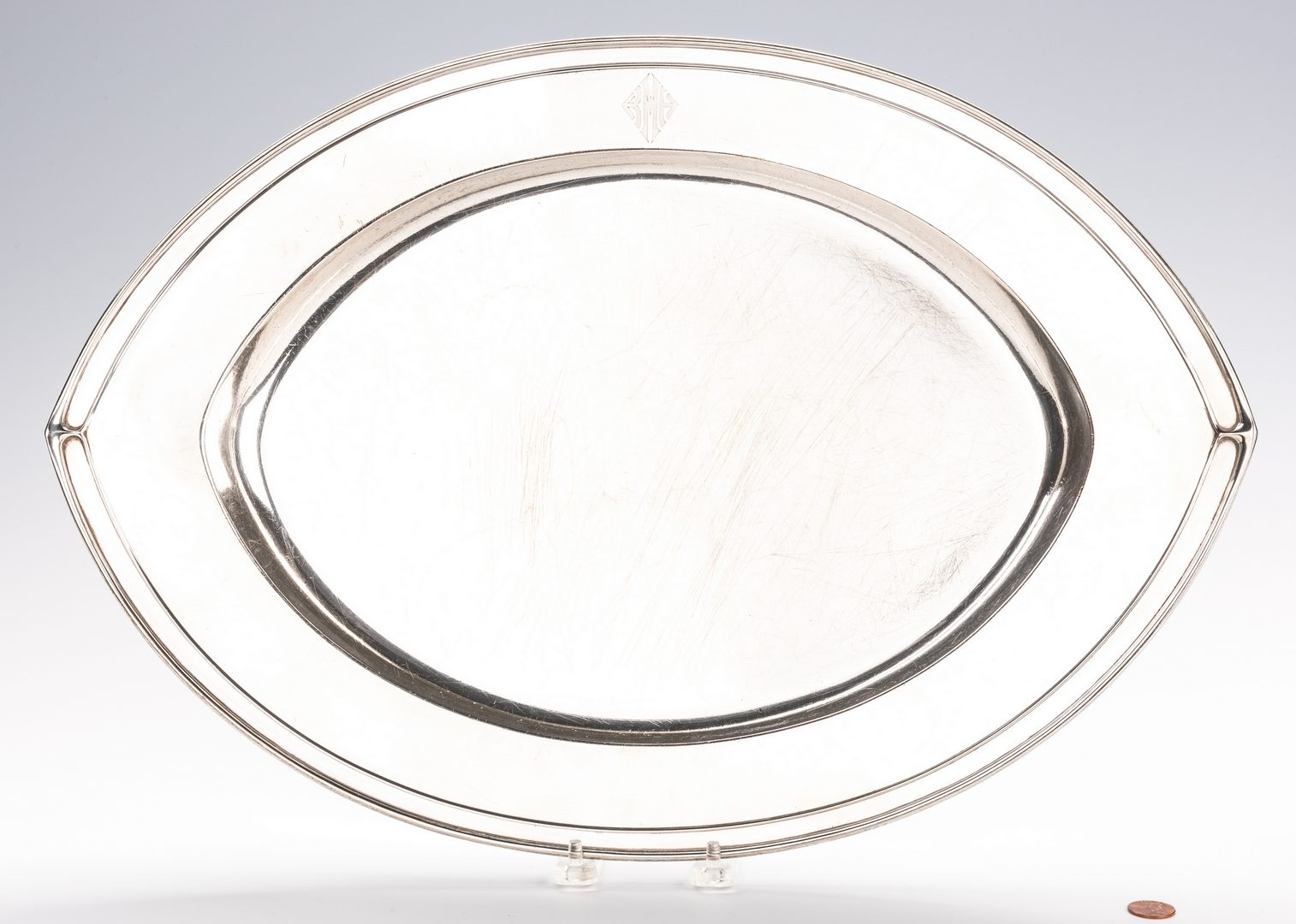 "Lot 405: Gorham Art Deco Sterling Tray, 20"" Oval"
