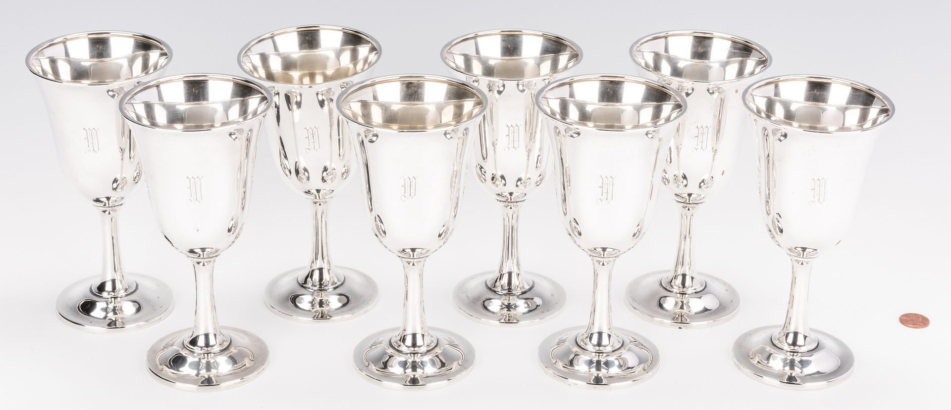 Lot 408: 8 Wallace Sterling Silver Goblets