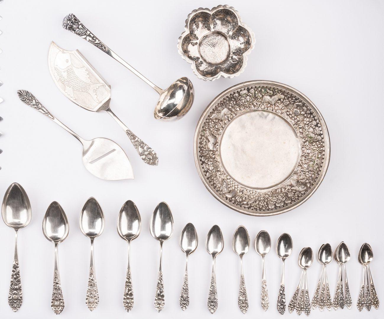 Lot 40: 100 ps Indonesian Silver Flatware plus 2 bowls, 102 pcs