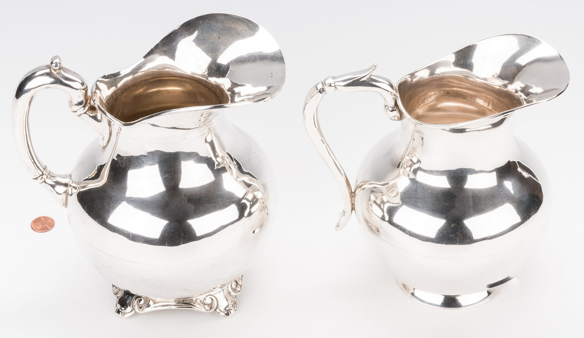 Lot 410: 2 Mexican Silver Water Pitchers