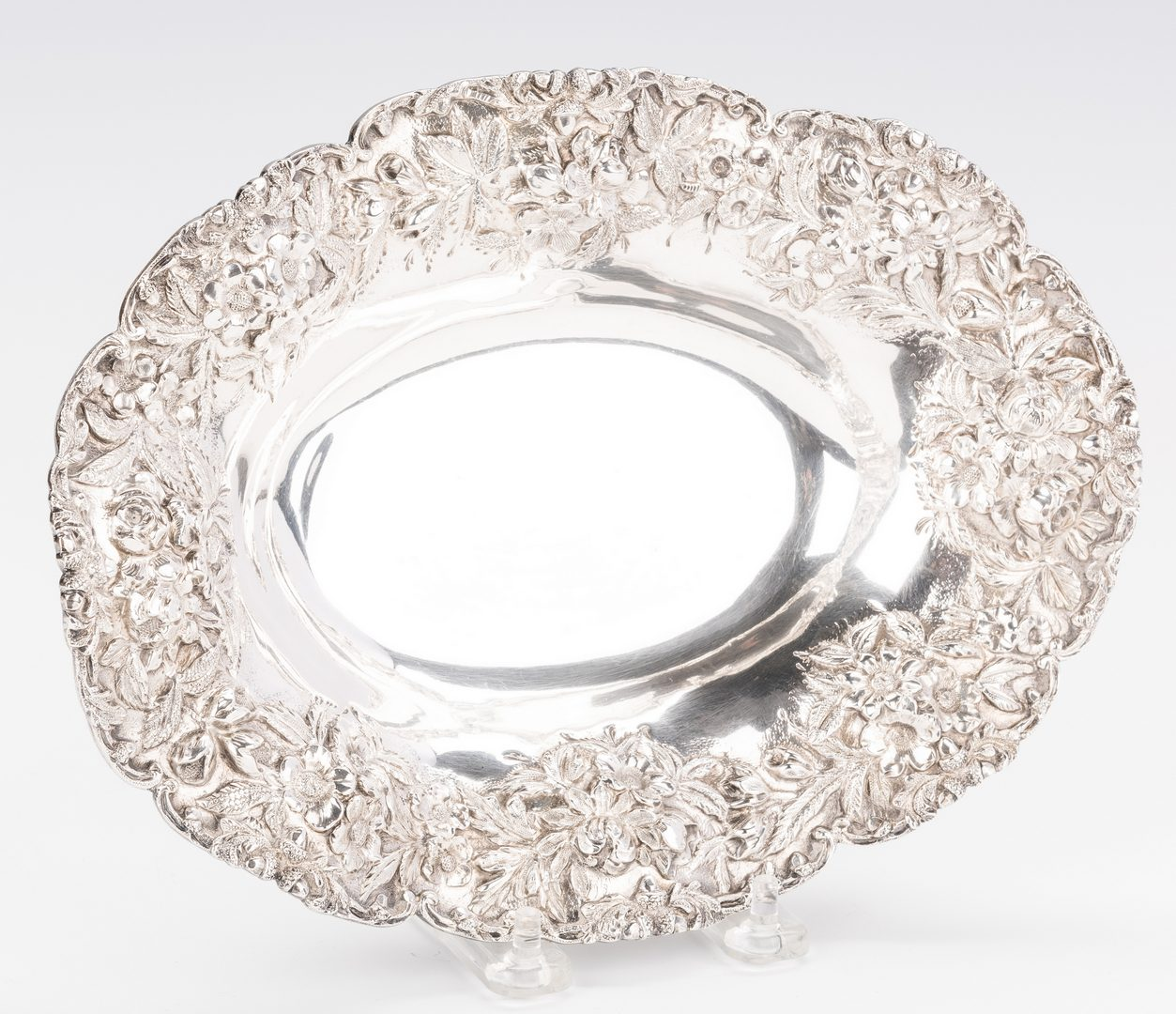 Lot 411: 3 Sterling Bowls with Floral Rims