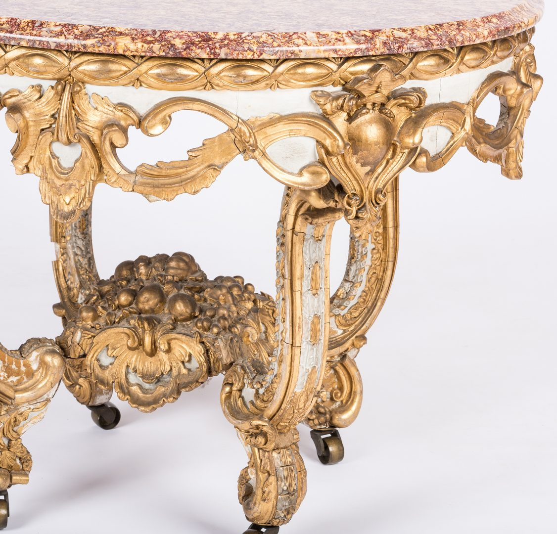 Lot 413: Louis XIV Giltwood Table with Marble top