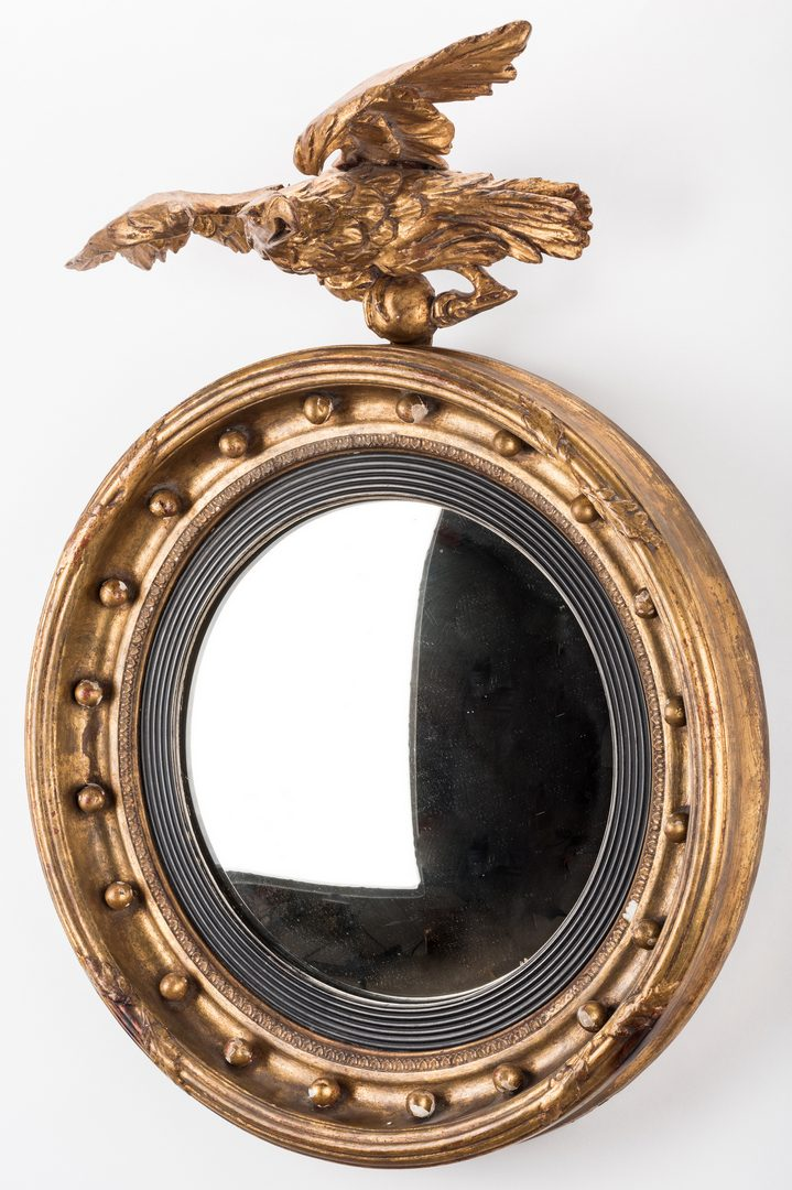 Lot 414: Regency Giltwood Convex Mirror