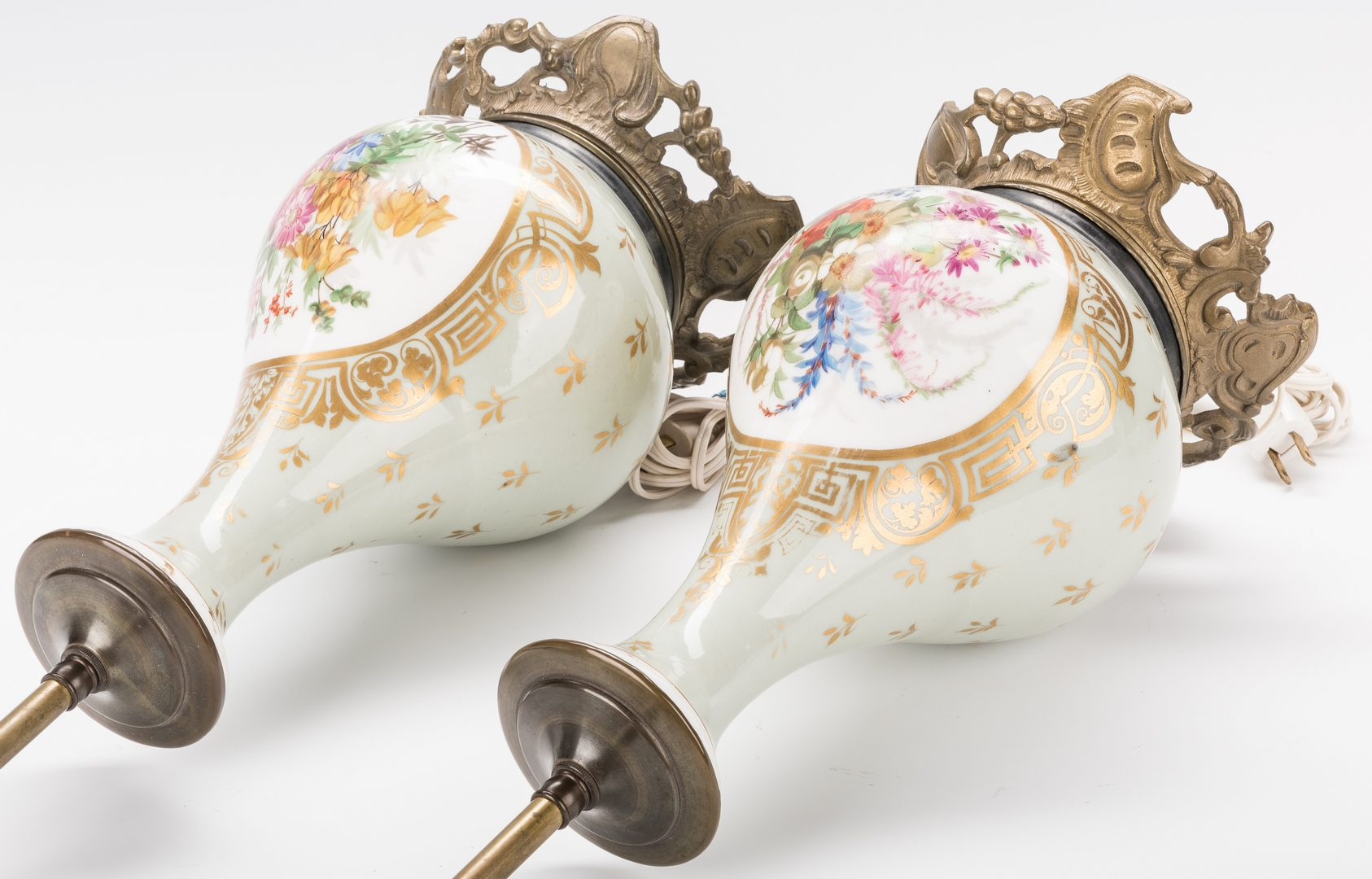 Lot 417: Pair Gilt Bronze Mounted Continental Porcelain Lamps