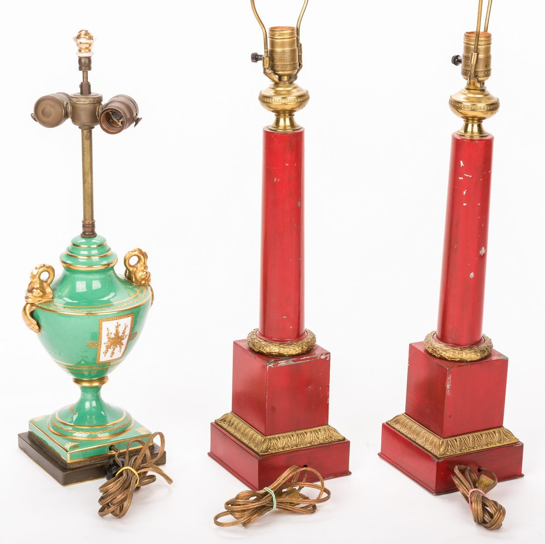 Lot 418: 3 French Lamps, Pair of Empire Tole & 1 Porcelain