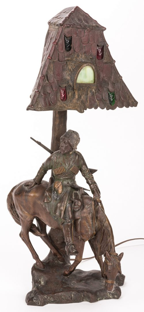 Lot 419: Orientalist Figural Bronze Lamp