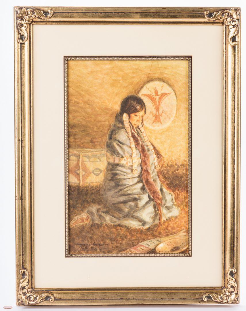 Lot 428: Tom Saubert, Watercolor of Plains Indian Woman