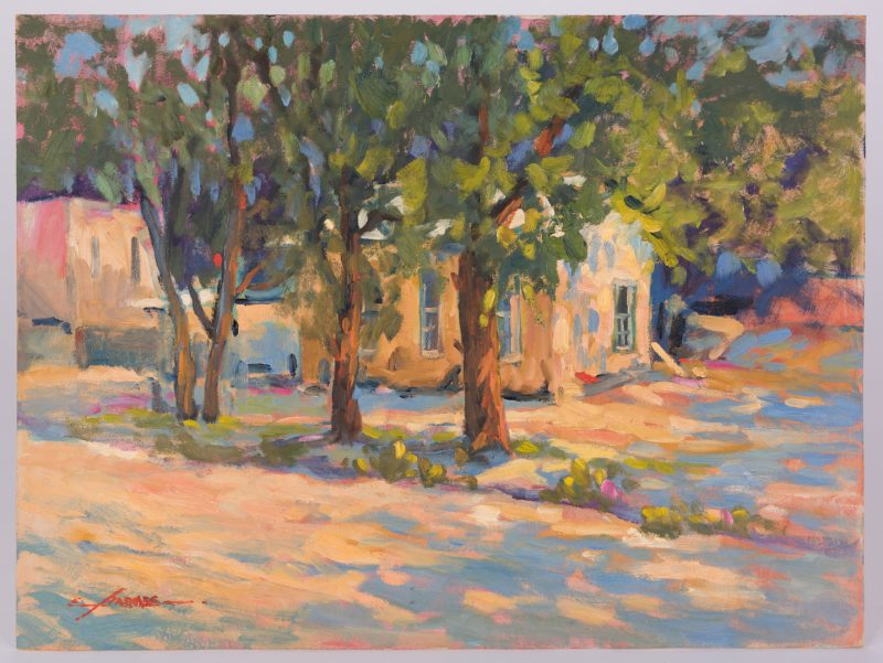 Lot 430: Earline Barnes Oil on Board, House w/ Trees