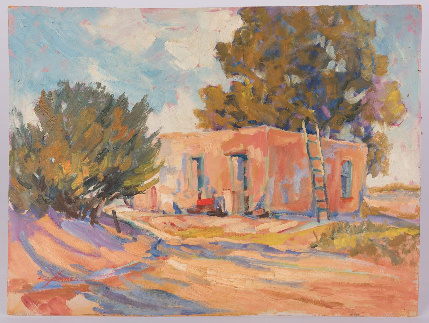 Lot 431: Earline Barnes Impressionist Oil on Board