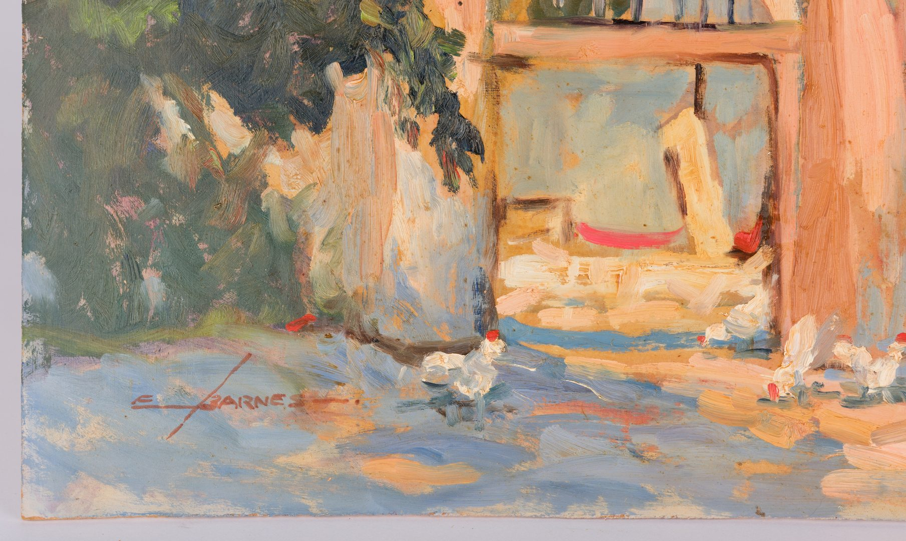 Lot 433: Earline Barnes Oil on Board w/ Chickens