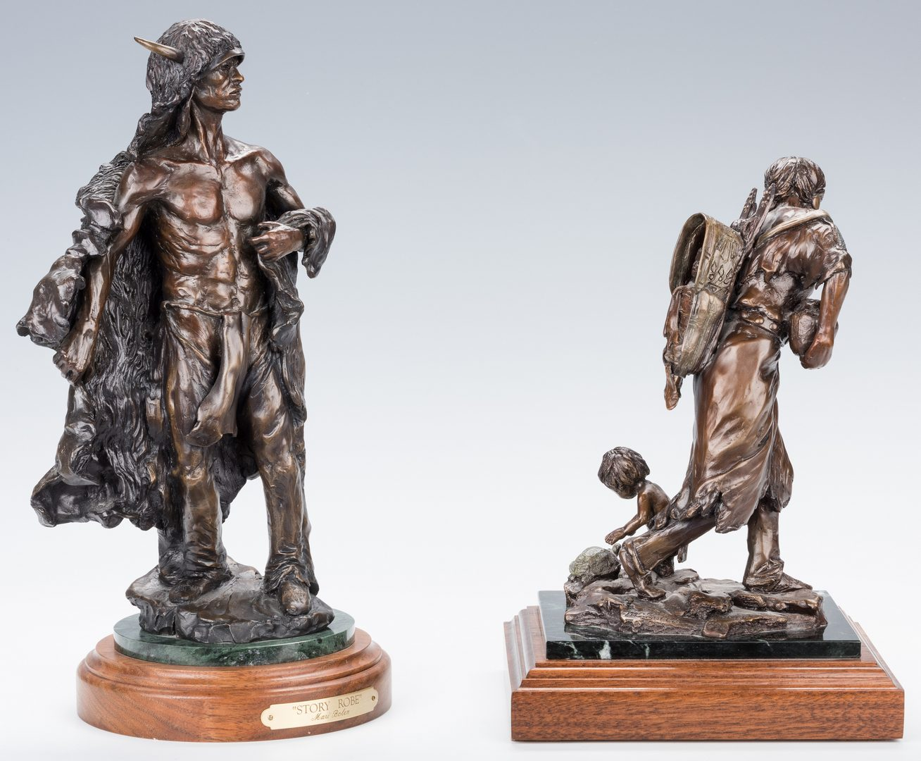 Lot 438: 2 Mari Bolen Bronze Native American Sculptures
