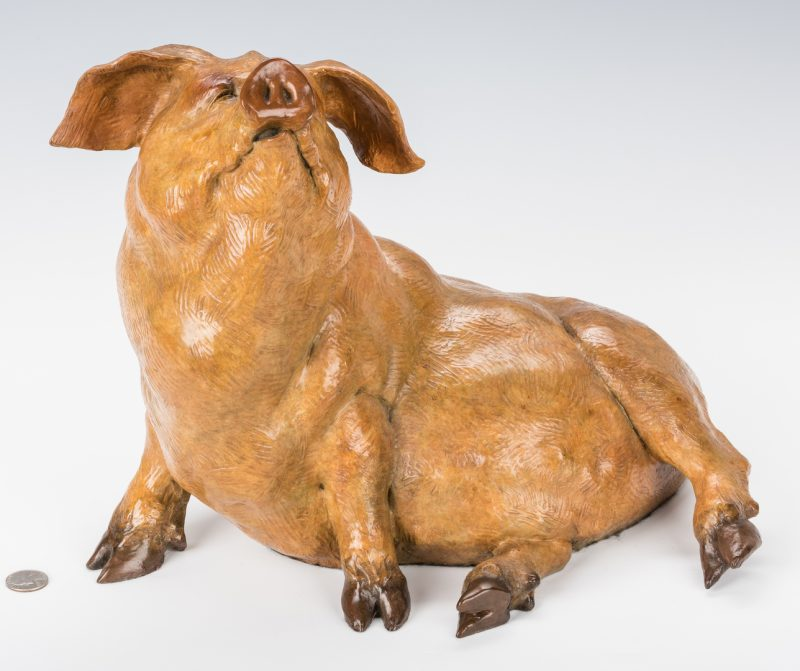 Lot 439: Walter Horton Bronze Pig Sculpture