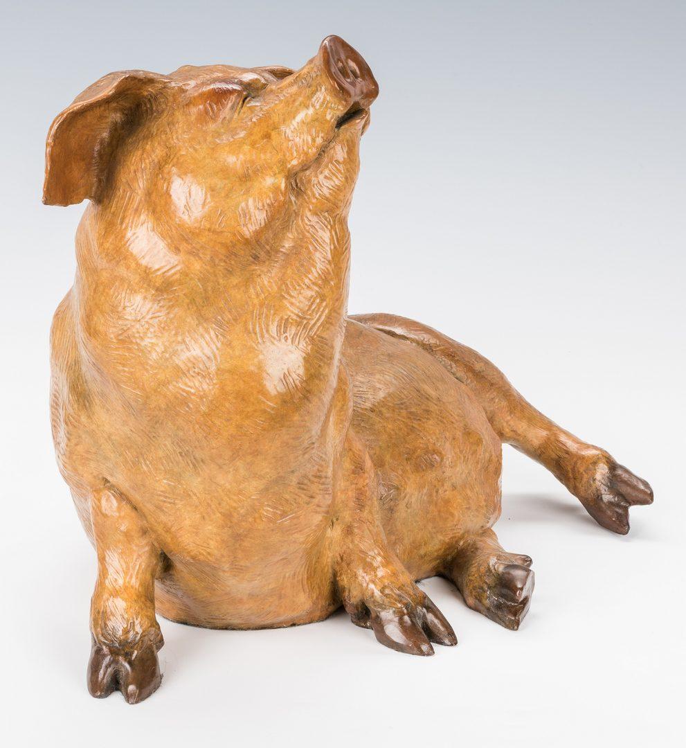 Lot 439: Walter Horton Bronze Pig Sculpture