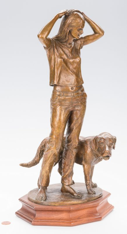 Lot 442: Charles Parks Bronze of Girl & Dog