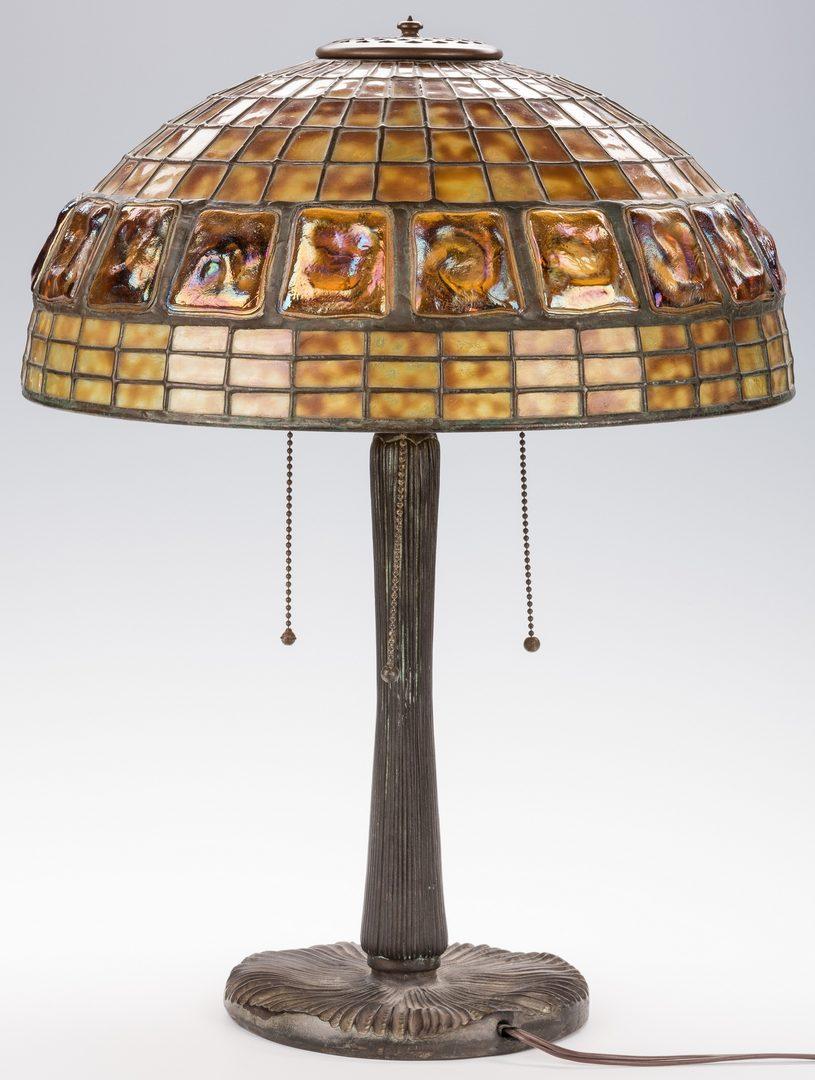 Lot 445: Tiffany Lamp Base w/Art Glass Shade