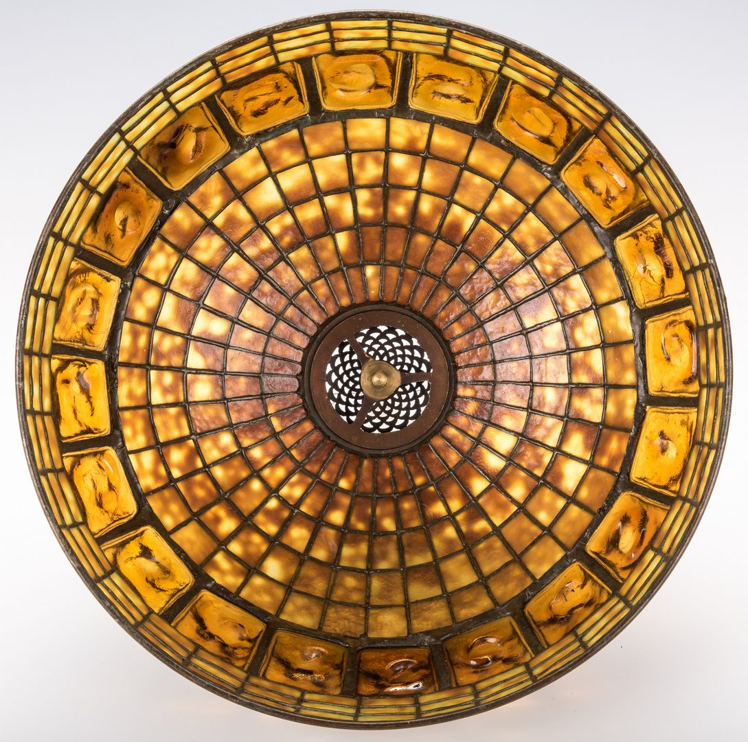 Lot 445: Tiffany Lamp Base w/Art Glass Shade