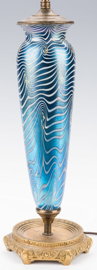 Lot 446: Blue Iridescent Art Glass Lamp