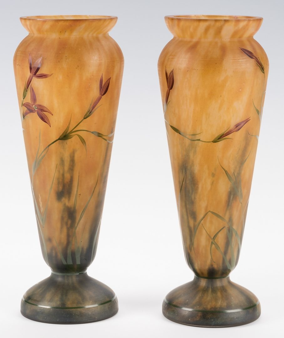 Lot 448: Pair of Daum Mado Nancy Art Glass Vases