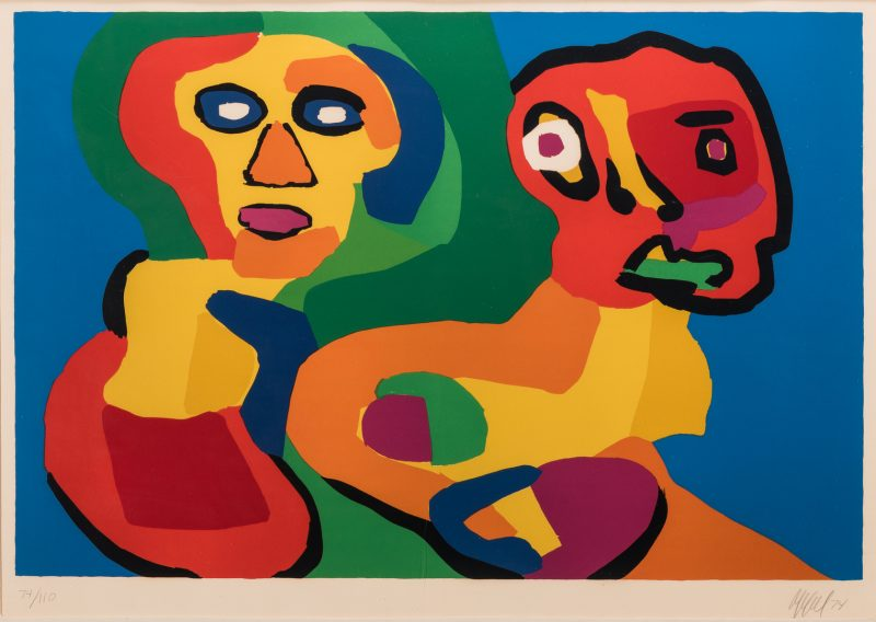Lot 466: Karel Appel Serigraph, Two Faces, 1974