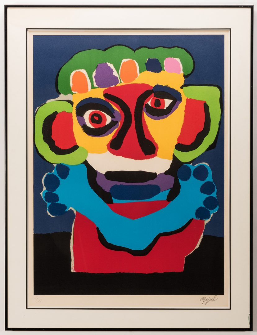 Lot 468: Karel Appel signed Lithograph, Face